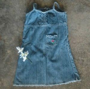 Old Navy Toddler Rose & Raw Hem Denim Dress 2T